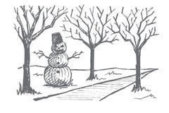 Pupazzo di neve disegnato a mano di Halloween fatto delle zucche Immagini Stock Libere da Diritti
