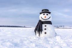 Pupazzo di neve divertente in black hat Fotografia Stock Libera da Diritti