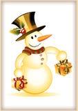 Pupazzo di neve divertente con due contenitori di regalo royalty illustrazione gratis