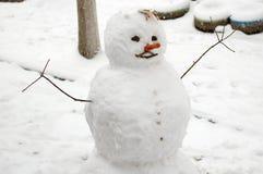 Pupazzo di neve divertente con il radiatore anteriore della carota. Immagini Stock