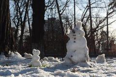 Pupazzo di neve due Fotografia Stock Libera da Diritti