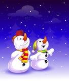 Pupazzo di neve due sul fondo di inverno Immagine Stock Libera da Diritti