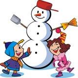 Pupazzo di neve e bambini Fotografie Stock Libere da Diritti