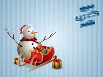 Pupazzo di neve e cartolina della slitta Fotografia Stock