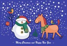 Pupazzo di neve e cavallo dell'illustrazione di vettore Immagini Stock Libere da Diritti