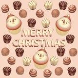 Pupazzo di neve e cioccolato del bigné Immagine di vettore Fotografia Stock