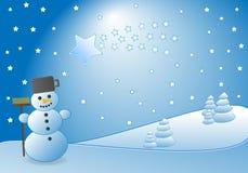 Pupazzo di neve e cometa Immagini Stock