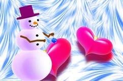 Pupazzo di neve e due cuori rossi illustrazione vettoriale