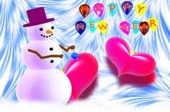 Pupazzo di neve e due cuori rossi illustrazione di stock