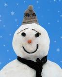 Pupazzo di neve e fiocchi Fotografia Stock Libera da Diritti