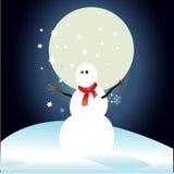Pupazzo di neve e luna piena con il Natale fondo ed il vettore della cartolina d'auguri Illustrazione di Stock