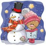 Pupazzo di neve e ragazza sveglia di Teddy Bear del fumetto Fotografie Stock Libere da Diritti