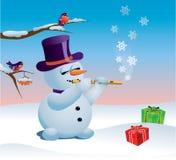 Pupazzo di neve e regali royalty illustrazione gratis