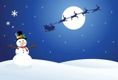Pupazzo di neve e Santa Fotografie Stock Libere da Diritti