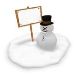Pupazzo di neve e segno in bianco Fotografia Stock Libera da Diritti