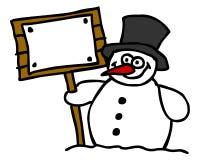 Pupazzo di neve e segno in bianco Fotografie Stock