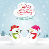 Pupazzo di neve e Snowgirl, Natale Immagine Stock Libera da Diritti