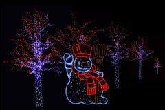 Pupazzo di neve ed alberi illuminati Fotografie Stock