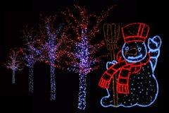 Pupazzo di neve ed alberi illuminati Fotografia Stock