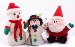 Pupazzo di neve ed il Babbo Natale Immagine Stock