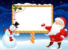 Pupazzo di neve ed il Babbo Natale Fotografia Stock Libera da Diritti