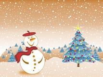 Pupazzo di neve felice alla notte di Natale Fotografie Stock Libere da Diritti