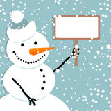 Pupazzo di neve felice, cartolina di Natale Fotografia Stock