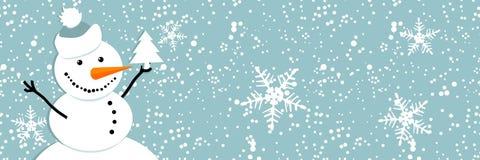Pupazzo di neve felice, cartolina di Natale Immagini Stock Libere da Diritti