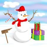 Pupazzo di neve felice e allegro Immagine Stock Libera da Diritti