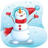 Pupazzo di neve felice Illustrazione di Natale Immagini Stock