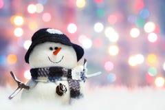 Pupazzo di neve festivo Fotografia Stock Libera da Diritti