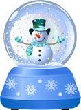 Pupazzo di neve in globo della neve Immagini Stock Libere da Diritti