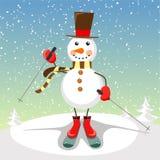 Pupazzo di neve luminoso e allegro sugli sci Illustrazione festiva con il pupazzo di neve sorridente illustrazione vettoriale