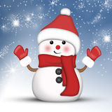 Pupazzo di neve in modo divertente ad altezza Fotografia Stock