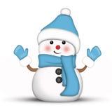 Pupazzo di neve in modo divertente vestito in blu Fotografie Stock Libere da Diritti