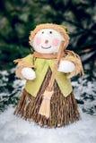 Pupazzo di neve di Natale con la scopa Fotografie Stock Libere da Diritti
