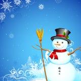 Pupazzo di neve nel fondo dei fiocchi di neve di Natale Fotografia Stock Libera da Diritti