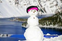 Pupazzo di neve nel lago Oregon crater Fotografia Stock