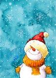 Pupazzo di neve nel paese delle meraviglie di inverno illustrazione di stock