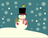 Pupazzo di neve nella scena di inverno illustrazione di stock