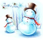 Pupazzo di neve per il Natale e la stagione di inverno Fotografia Stock