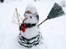 Pupazzo di neve piacevole con la carota e l'albero di Natale Immagini Stock Libere da Diritti