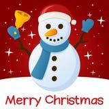Pupazzo di neve rosso della cartolina di Natale Immagine Stock