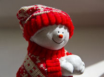 Pupazzo di neve sorridente bianco Fotografie Stock Libere da Diritti