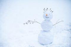 Pupazzo di neve sorridente che sta nella neve Fotografia Stock Libera da Diritti