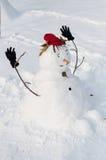 Pupazzo di neve sorridente con i baffi Immagini Stock