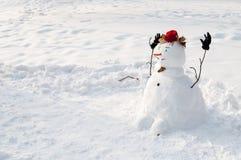 Pupazzo di neve sorridente con i baffi Fotografie Stock