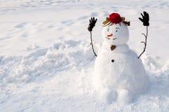 Pupazzo di neve sorridente con i baffi Fotografie Stock Libere da Diritti