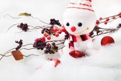 Pupazzo di neve sorridente con l'oggetto della decorazione Fotografia Stock