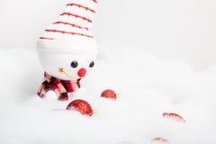 Pupazzo di neve sorridente con la decorazione di natale Fotografie Stock